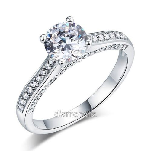 engagement cathedral ring 925 sterling silver wedding created diamond - Sterling Silver Wedding Rings