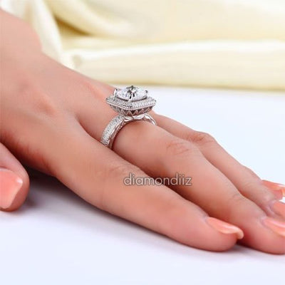 Cushion Cut Created Diamond Engagement Ring Finger Vintage 925 Silver - diamondiiz.com