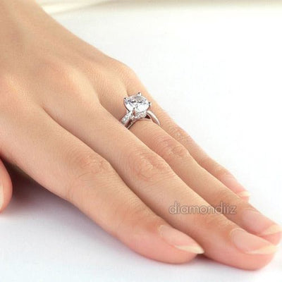 925 Sterling Silver Wedding Engagement Ring 2 Ct Brilliant Lab Created Diamond - diamondiiz.com