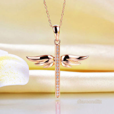 Fine 14K Rose Gold Angel Wing Cross Pendant Necklace 0.08 Ct Diamond Jewelry - diamondiiz.com