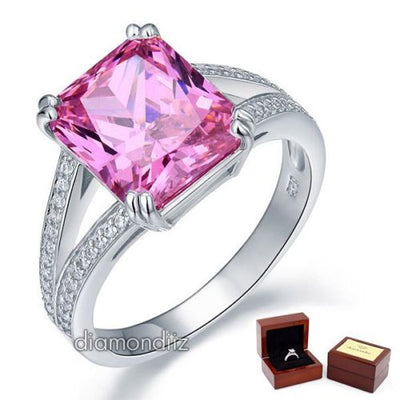 6 Carat Pink Lab Created Diamond 925 Sterling Silver Luxury Color Ring - diamondiiz.com