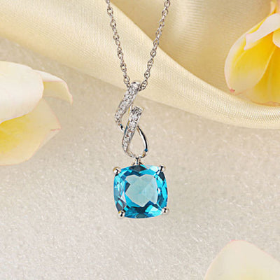14K White Gold 3 Ct Cushion Swiss Blue Topaz Pendant Necklace 0.12 Ct Diamond - diamondiiz.com