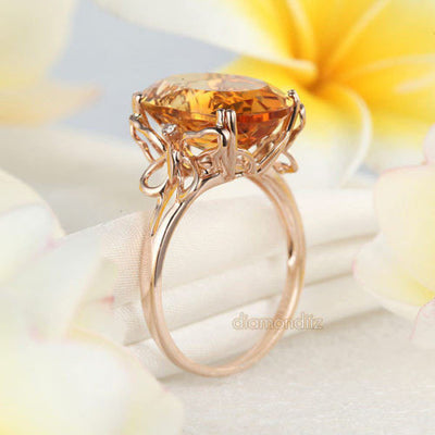 14K Rose Gold Luxury Anniversary Ring 8.2 Ct Oval Yellow Citrine Diamond - diamondiiz.com