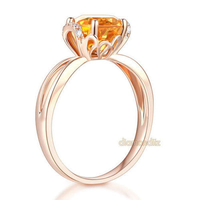 14K Rose Gold Wedding Promise Ring Floral Yellow Citrine Natural Diamond - diamondiiz.com