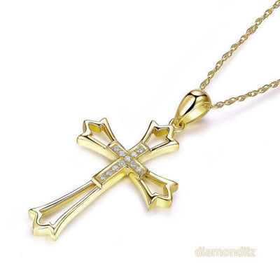 14K Yellow Gold Cross Pendant Necklace 0.07 Ct Diamonds - diamondiiz.com