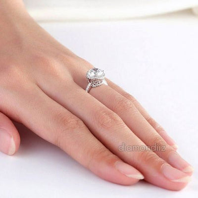 Vintage Halo 925 Sterling Silver Wedding Engagement Ring 2 Carat Lab Diamond - diamondiiz.com