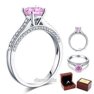 Cathedral Engagement Ring Sterling Silver Fancy Pink Created Diamond - diamondiiz.com