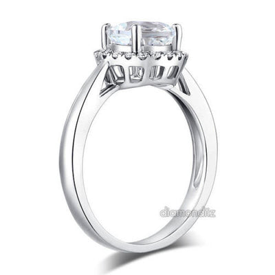 14K White Gold Wedding Engagement Ring 1.2 CT Topaz 0.16 CT Natural Diamonds - diamondiiz.com