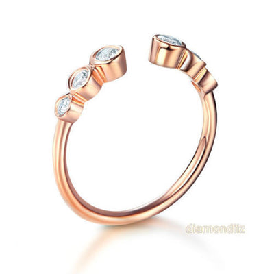 14K Rose Gold Wedding Band Women Ring 0.26 Ct Diamond 585 Fine Jewelry - diamondiiz.com