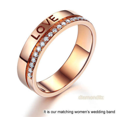 Matching 14K Rose Gold Forever Men Wedding Band Ring 0.02 Ct Diamonds - diamondiiz.com