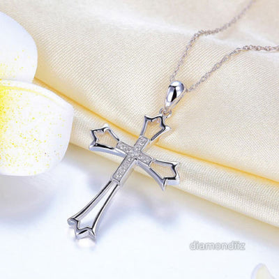 14K White Gold Cross Pendant Necklace 0.07 Ct Diamonds - diamondiiz.com