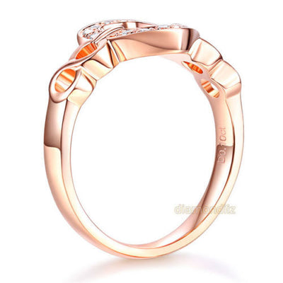 Women 14K Rose Gold Heart Wedding Band Anniversary Promise Ring 0.1 Ct Diamond - diamondiiz.com