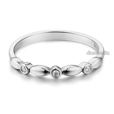14K Solid White Gold Wedding Band Stackable Ring 0.03 Ct Diamond - diamondiiz.com