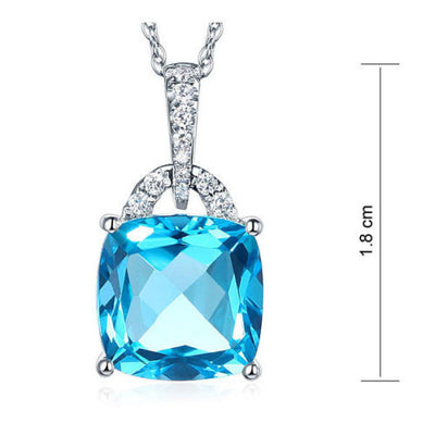 14K White Gold 4 Ct Cushion Swiss Blue Topaz Pendant Necklace 0.1 Ct Diamond - diamondiiz.com