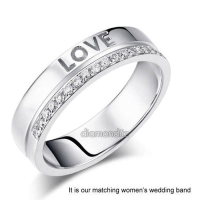 Matching 14K White Gold Forever Men Wedding Band Ring 0.02 Ct Diamonds - diamondiiz.com