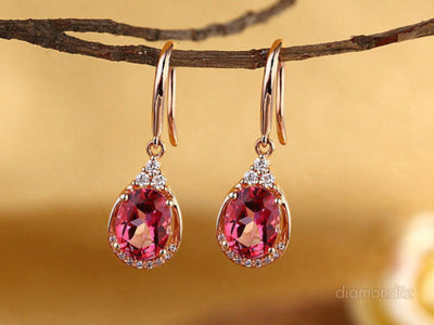 14K Rose Gold Dangle 1.6 Ct Natural Pink Topaz Earrings 0.185 Ct Diamond Wedding - diamondiiz.com