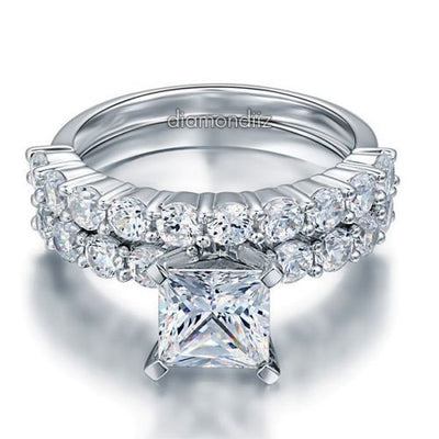 Sterling 925 Silver Bridal Wedding Engagement Ring Set 1.5 Ct Princess Diamond - diamondiiz.com