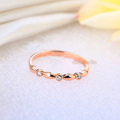14K Solid Rose Gold Wedding Band Stackable Ring 0.03 Ct Diamond - diamondiiz.com