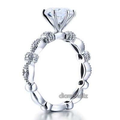 Lab Created Diamond Vintage Engagement Ring 925 Sterling Silver