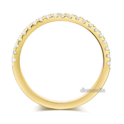 14K Yellow Gold Stackable Wedding Band Ring Half Eternity 0.2 Ct Natural Diamond - diamondiiz.com