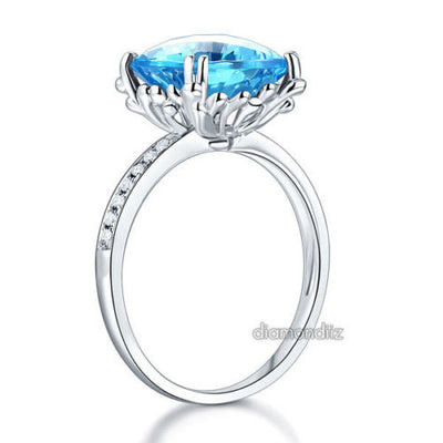 14K White Gold Wedding Anniversary Ring 4.5 Ct Cushion Swiss Blue Topaz Diamond - diamondiiz.com