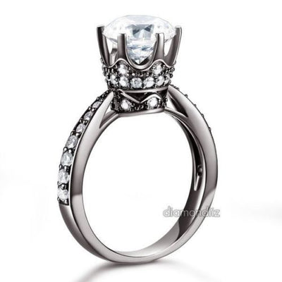 Black 925 Silver 6-Claws Crown Engagement Anniversary Ring 2 Ct Lab Made Diamond - diamondiiz.com