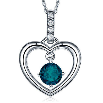 Fine 14K White Gold London Blue Topaz Heart Pendant Necklace 0.04 Ct Diamond - diamondiiz.com