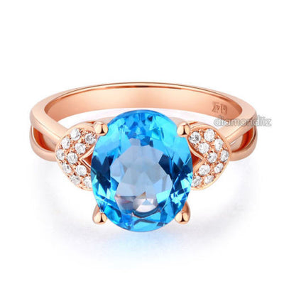 14K Rose Gold Wedding Engagement Ring 3.5 Ct Swiss Blue Topaz & Natural Diamond - diamondiiz.com