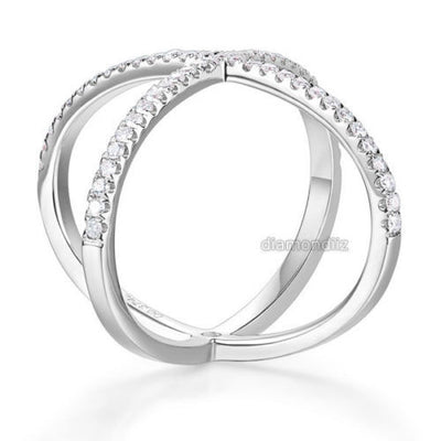 Women Solid 14K White Gold Crossover Ring 0.37 Ct Diamond 585 Fine Jewelry - diamondiiz.com