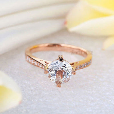 14K Rose Gold Vintage Wedding Engagement Ring 1.2 CT Topaz & Natural Diamonds - diamondiiz.com
