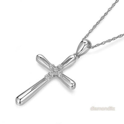 14K White Gold Cross Pendant Necklace 0.13 Ct Diamonds - diamondiiz.com