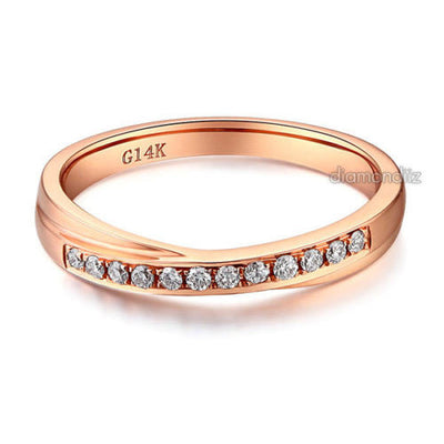 Matching 14K Rose Gold Women Wedding Band Ring 0.14 Ct Diamonds - diamondiiz.com