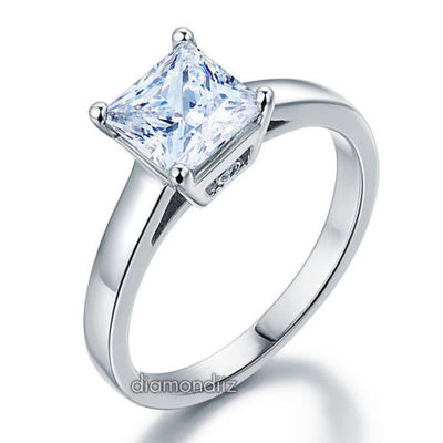 Sterling 925 Silver Engagement Ring 1.5 Ct Princess Cut Lab Created Diamond - diamondiiz.com