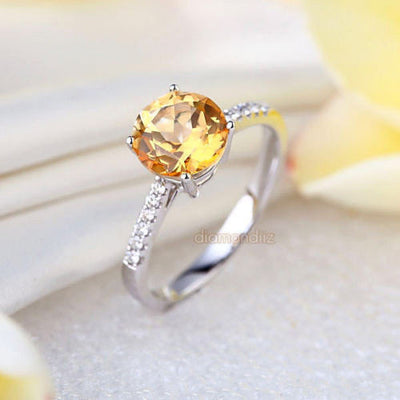 14K White Gold Wedding Engagement Ring 2 Ct Yellow Topaz 0.12 Ct Natural Diamond - diamondiiz.com