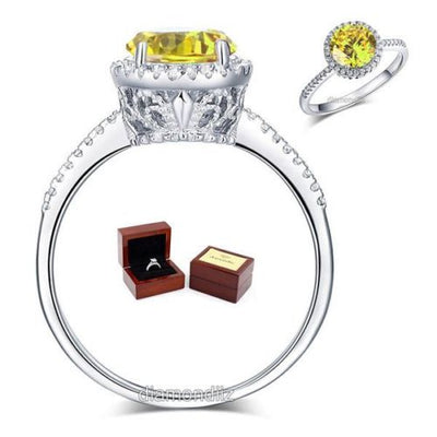 925 Sterling Silver Halo Ring Vintage Yellow Canary Lab Made Diamond