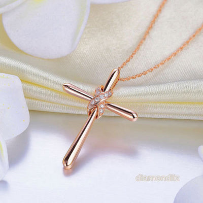 14K Rose Gold Cross Pendant Necklace 0.04 Ct Diamonds - diamondiiz.com