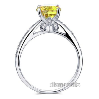 925 Sterling Silver Engagement Ring 2 Ct Yellow Canary Lab Created Diamond - diamondiiz.com