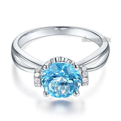 14K White Gold Wedding Promise Ring 2 Ct Swiss Blue Topaz Natural Diamond - diamondiiz.com