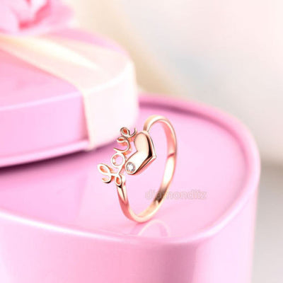 14K Rose Gold Love Wedding Band Heart Ring 0.01 Ct Diamond 585 Fine Jewelry - diamondiiz.com
