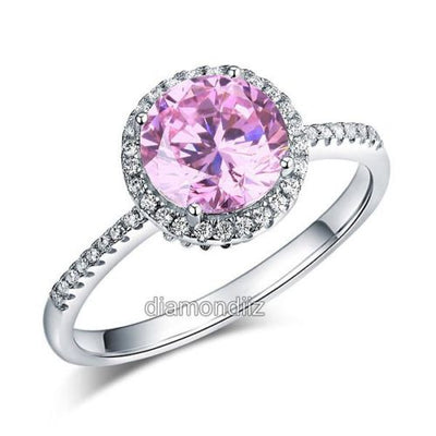 925 Sterling Silver Halo Ring Vintage Fancy Pink Lab Made Diamond - diamondiiz.com