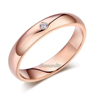 Men's Solid 14K Rose Gold Bridal Wedding Ring 0.03 Ct Natural Diamonds - diamondiiz.com
