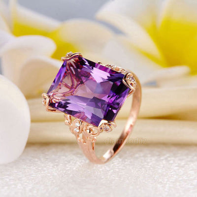 14K Rose Gold Luxury Wedding Anniversary Ring 10.5 Ct Purple Amethyst Diamond - diamondiiz.com