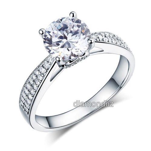 925 Sterling Silver Wedding Engagement Ring 2 Ct Brilliant Lab