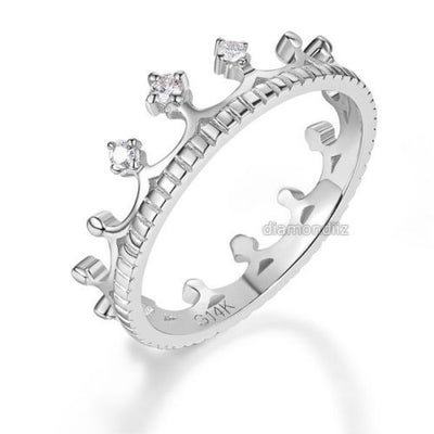 14K White Gold Wedding Band Princess Crown Ring 0.04 Ct Diamond Fine Jewelry - diamondiiz.com