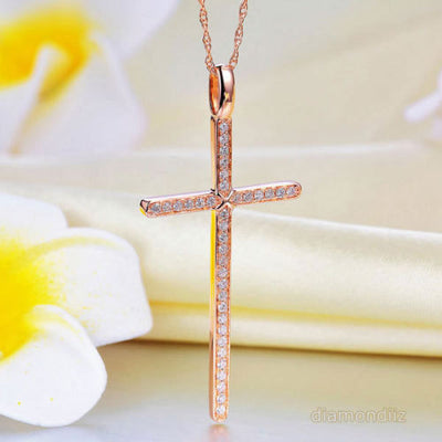 14K Rose Gold Cross Pendant Necklace 0.3 Ct Diamonds - diamondiiz.com