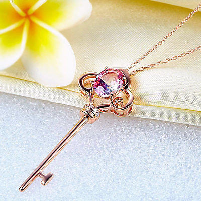 14K Rose Gold 2.5 Ct Pink Topaz Love Key Pendant Necklace 0.03 Ct Diamond - diamondiiz.com