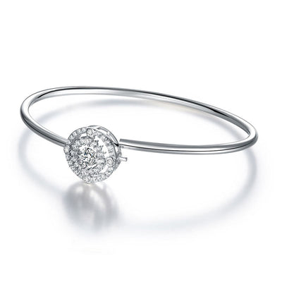 Dancing Stone Halo Bangle 925 Sterling Silver - diamondiiz.com