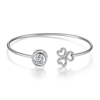 Dancing Stone 3 Hearts Flower Bangle 925 Sterling Silver - diamondiiz.com