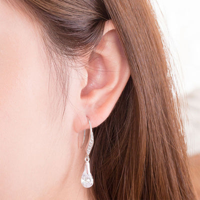 Fashion Pear Cut Dangle Drop Earrings 925 Sterling Silver - diamondiiz.com