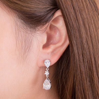 Bridal Wedding Bridesmaid Jewelry Dangle Earrings 925 Sterling Silver - diamondiiz.com